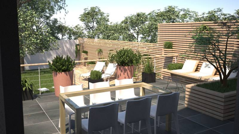 Le r am nagement d 39 un jardin par un architecte dplg le for Amenagement terrasse et jardin photo