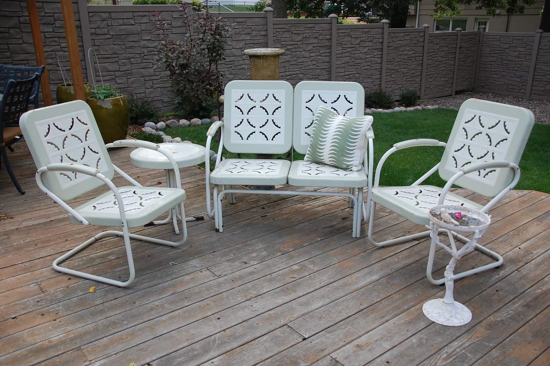 Metal Outdoor Furniture metal retro patio furniture retro style white metal outside lawn