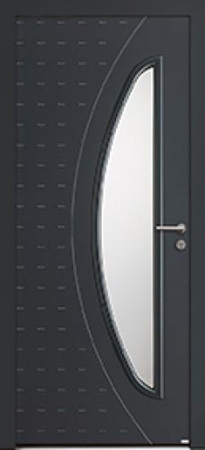 Porte d'entrée GAIA aluminium contemporaine mi vitrée