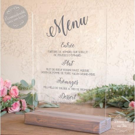 menu en plexiglas pour mariage